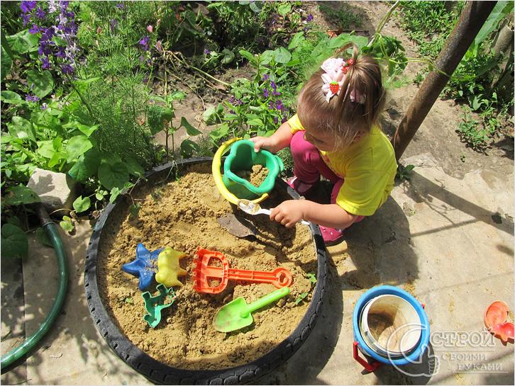 Песочница детская из колеса